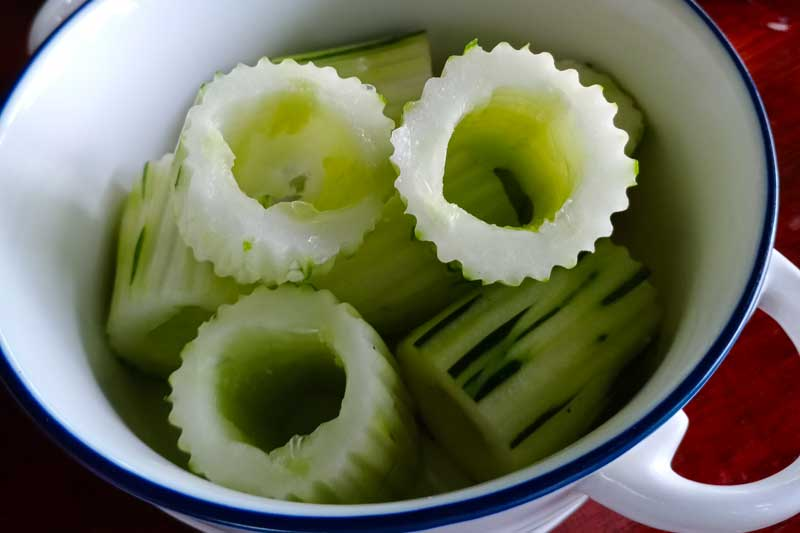 Hollowed out cucumbers
