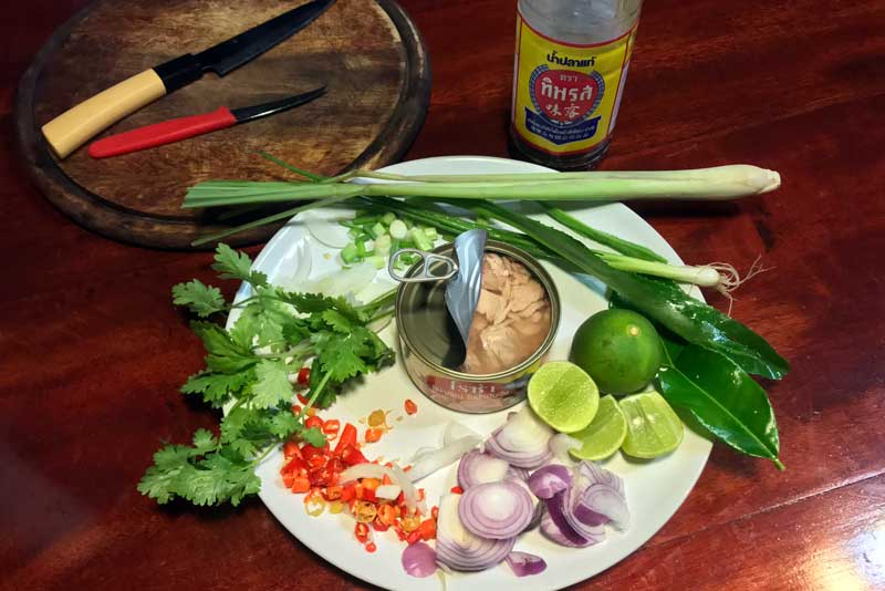ingredients for Thai tuna salad
