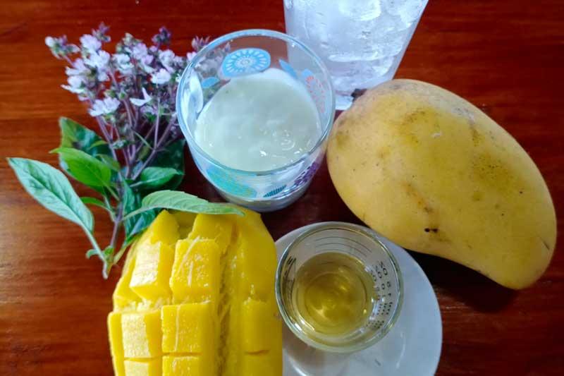 Mango smoothie ingredients