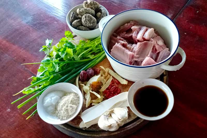 Chinese style pork rib soup ingredients