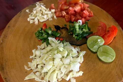 Myanmar Tea Salad fresh ingredients