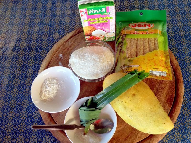 Mango sticky rice ingredients