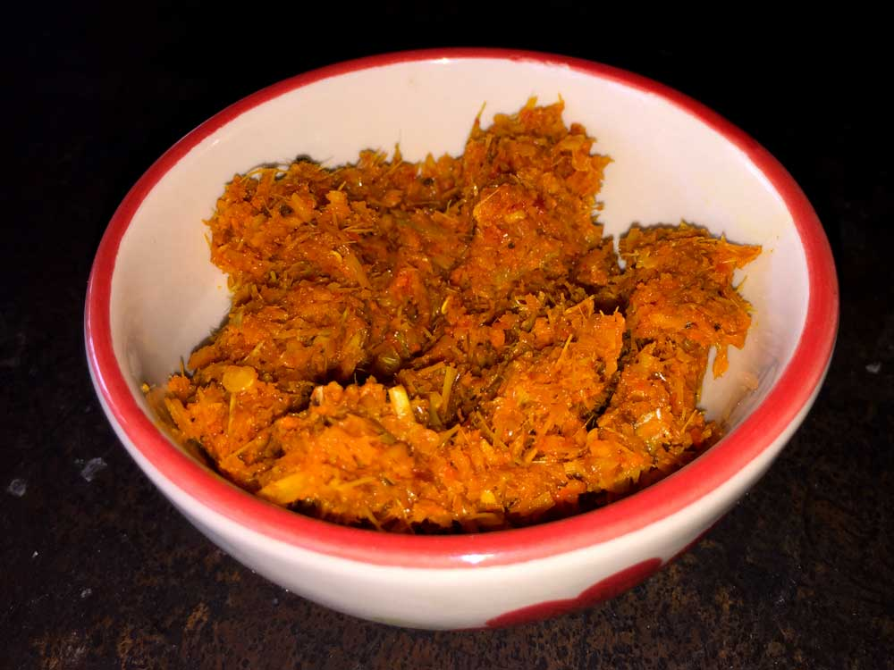 The finished red curry paste