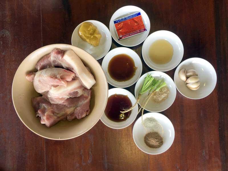 Thai red pork main ingredients