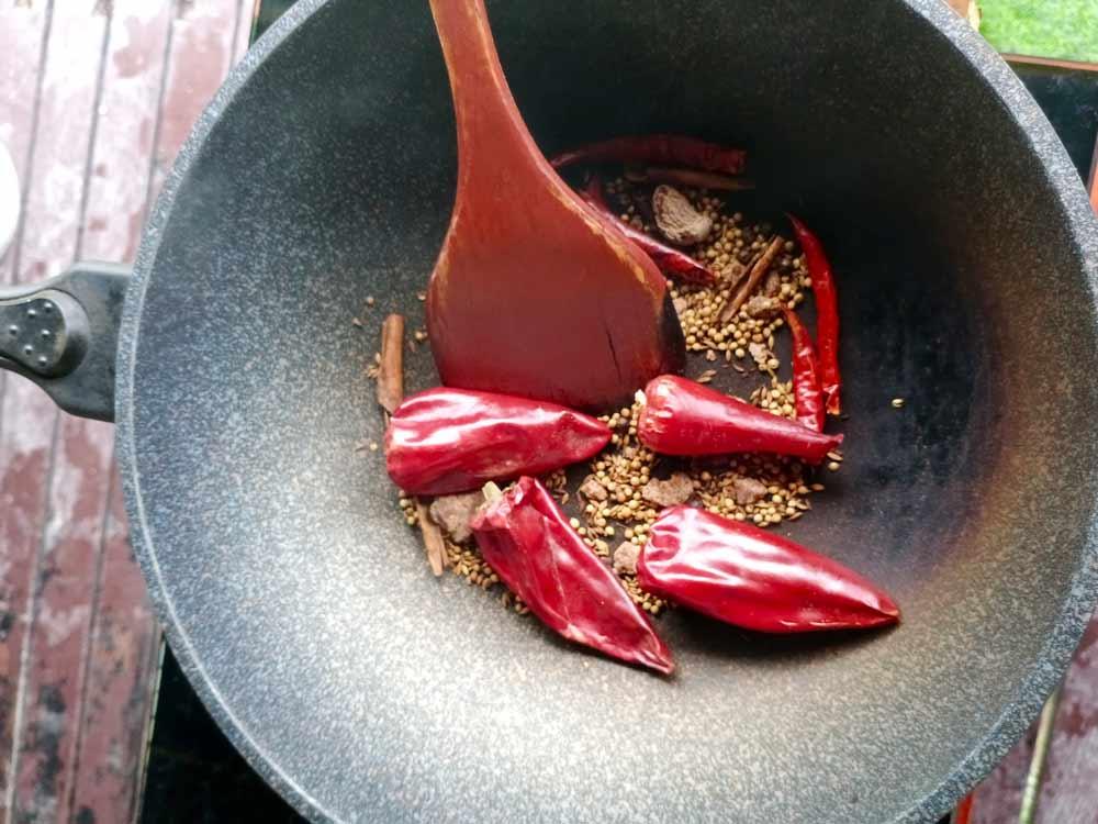 Roasting the dry ingredients