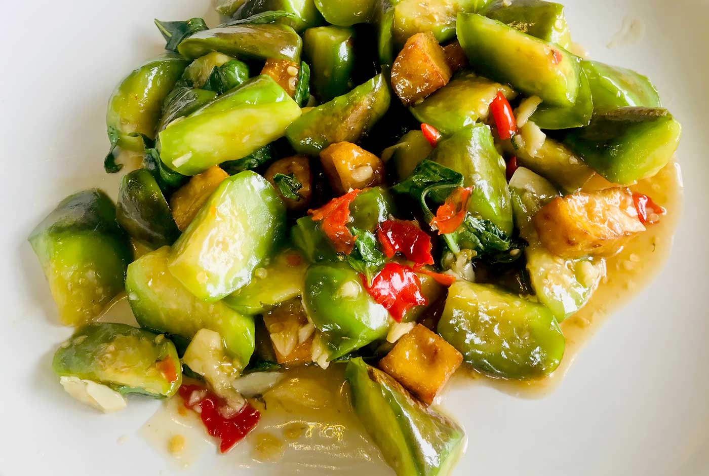 Stir Fried Thai Aubergine with Sweet Basil